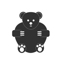 Black icon on white background teddy bear vector