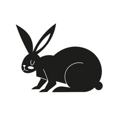 black icon with a hare silhouette with easter vector image