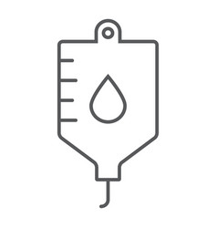 Blood bag thin line icon hospital and medicine vector