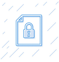 Blue document and lock line icon isolated on vector