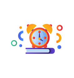 Book and alarm clock education concept back to vector