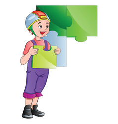 boy completing a wall puzzle vector image