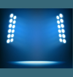 Bright spotlights on dark blue background vector