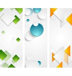 Bright tech geometric vertical banners vector image