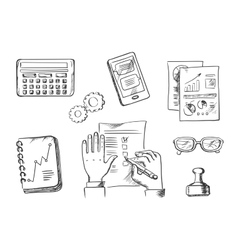 Business and office sketch icons vector image