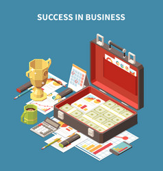 business strategy isometric 3d composition vector image