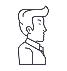 Businessman manager side view line icon vector
