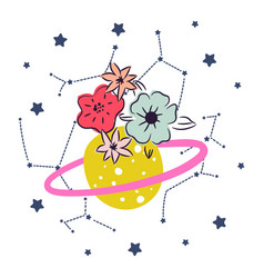 cartoon cute planet with flower and stars decor vector image