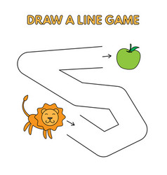 cartoon lion draw a line game for kids vector image