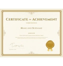 Certificate of achievement template in gold theme vector
