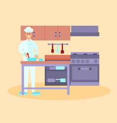 Chef in the restaurant kitchen vector