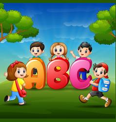 Children are learn alfabet vector