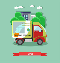 Cleaning service car flat vector