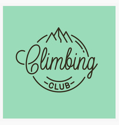 Climbing club logo round linear mountains vector
