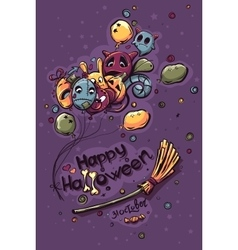 Colored Halloween doodles - Ghosts with balls on vector image