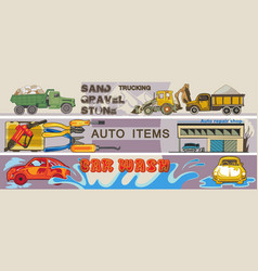 Colored hand drawn cars horizontal banners vector