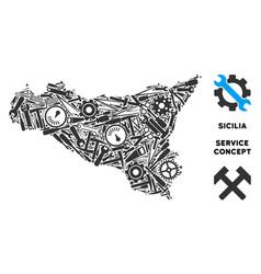 Composition sicilia map of repair tools vector