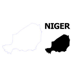 Contour dotted map niger with name vector