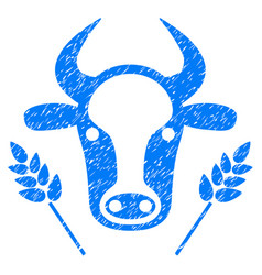 Cow and wheat agriculture icon grunge watermark vector