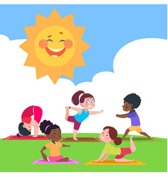 cute kids doing yoga in morning in nature vector image