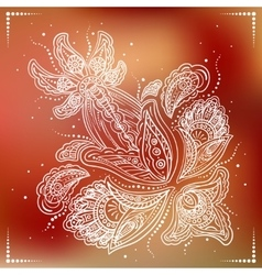 Delicate detailed flower on red background vector image