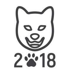 dog chinese zodiac of 2018 year line icon vector image