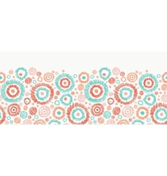 Doodle textured circles horizontal seamless vector image