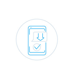 download smartphone app line icon vector image