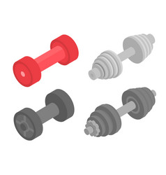 Dumbell icons set isometric style vector