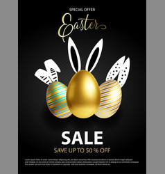 easter sale white black and rose gold poster vector image
