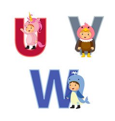 english alphabet with kids in animal costume u-w vector image