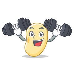 Fitness soy bean character cartoon vector