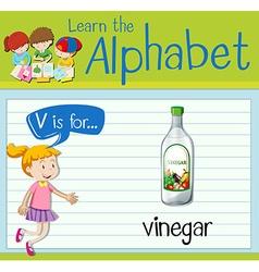 Flashcard letter V is for vinegar vector image