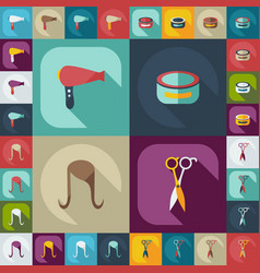 Flat concept set modern design with shadow style vector