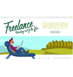 flat freelance website colorful template vector image