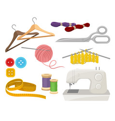 Flat set of objects related to sewing and vector