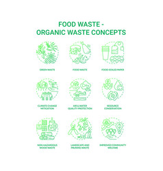 Food waste concept icons set vector