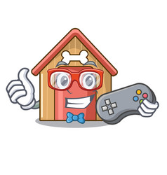 Gamer dog house isolated on mascot cartoon vector