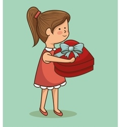Girl heart gift happy birthday design isolated vector