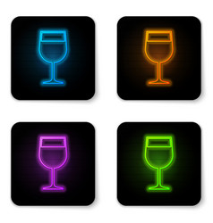 glowing neon wine glass icon isolated on white vector image