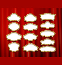 gold frames with red drapes vector image