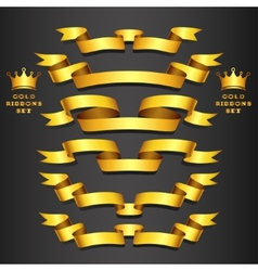 Gold ribbon set vector image