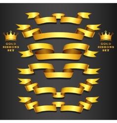 Gold ribbon set vector image