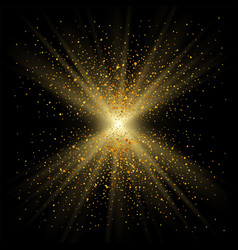 Gold sparkle on black background golden light vector