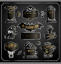halloween design labels silver with gold set vector image