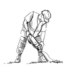 Hand sketch worker with a jackhammer vector image