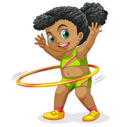 Happy girl playing hula hoop vector