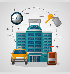 hotel building taxi and suitcase key suite vector image