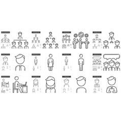 Human resources line icon set vector image