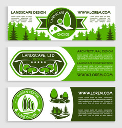 landscape design company banners set vector image